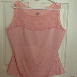 SPANX peach/pink camisole lace neck top 3X